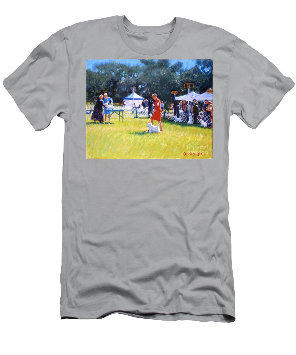 Dogs Men's T-Shirt (Athletic Fit) featuring the painting Westies Show by Candace Lovely