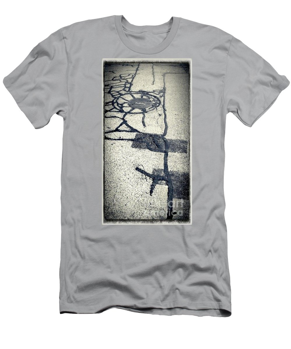Black And White Photography Men's T-Shirt (Athletic Fit) featuring the photograph What The Sun Does by Fei A
