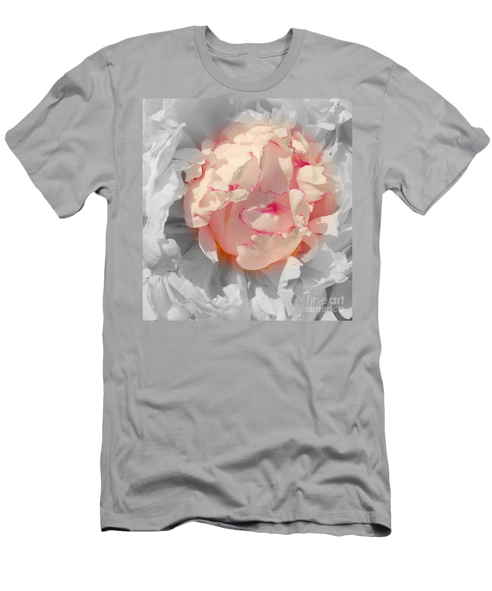 Peony Men's T-Shirt (Athletic Fit) featuring the photograph White And Pink Lace by Kathleen Struckle
