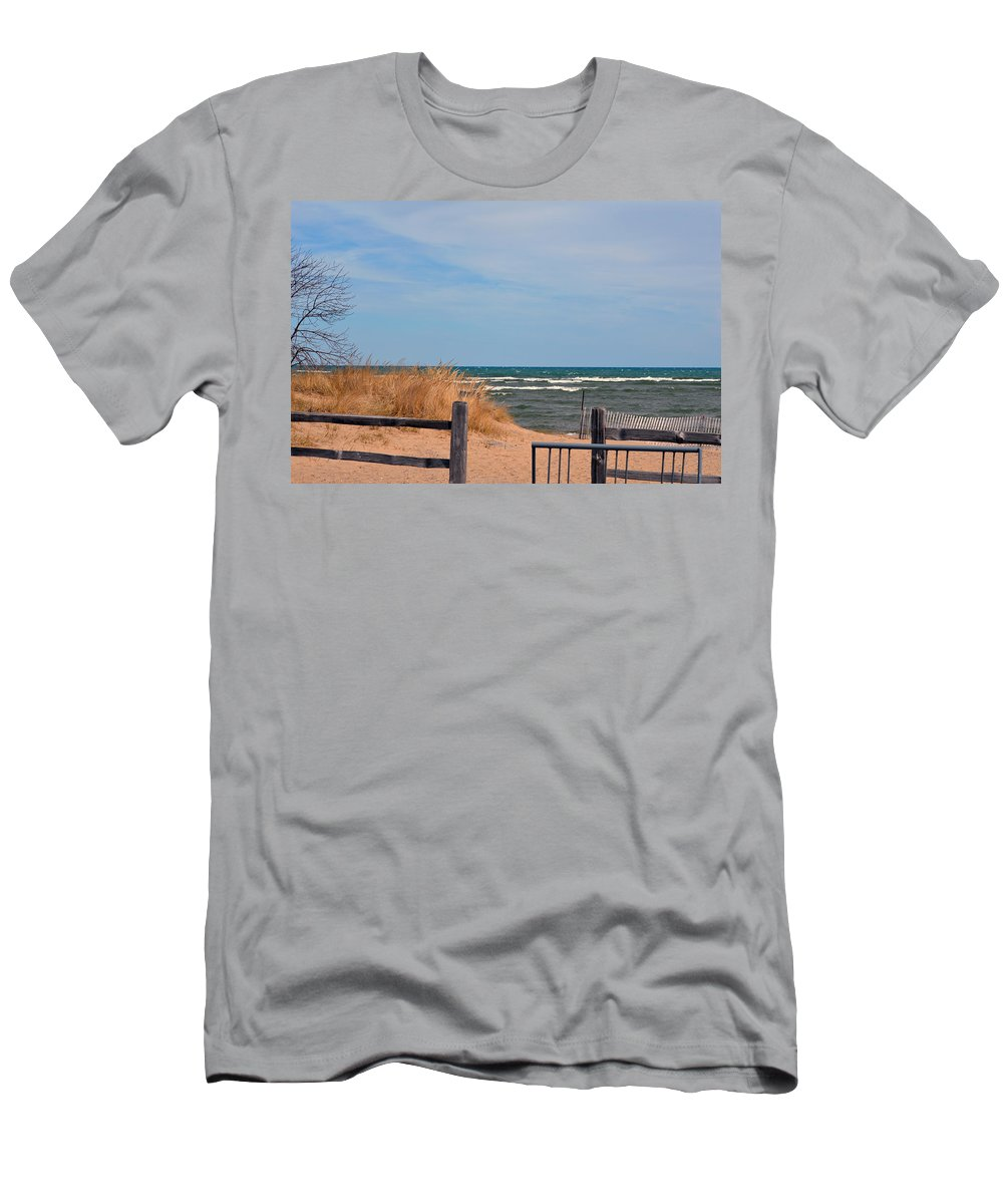 Lake Huron Men's T-Shirt (Athletic Fit) featuring the photograph White Caps by Linda Kerkau