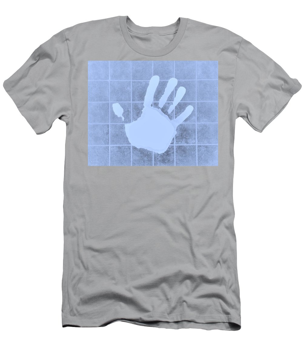 Hand Men's T-Shirt (Athletic Fit) featuring the photograph White Hand Cyan by Rob Hans