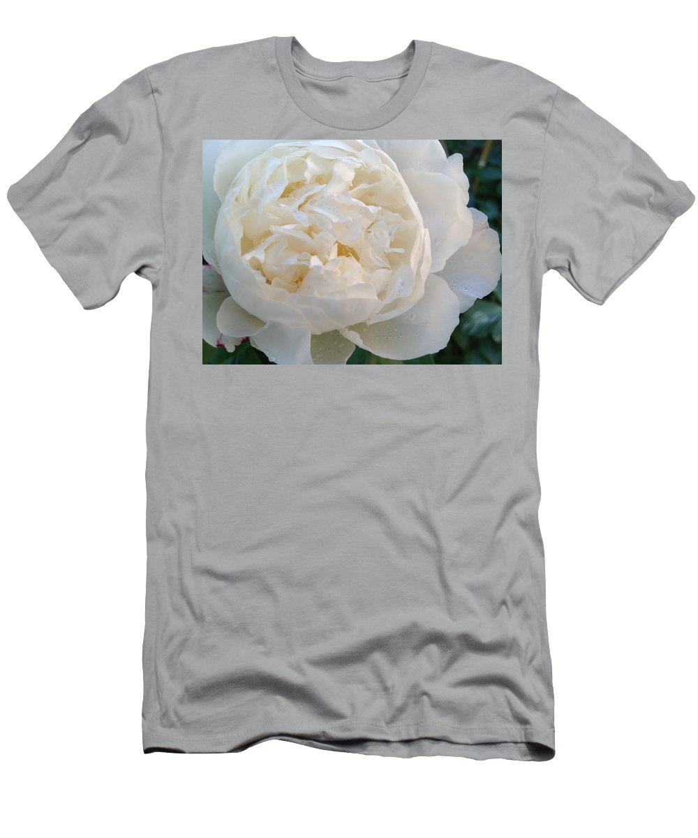 White Men's T-Shirt (Athletic Fit) featuring the photograph White Peony by Pema Hou