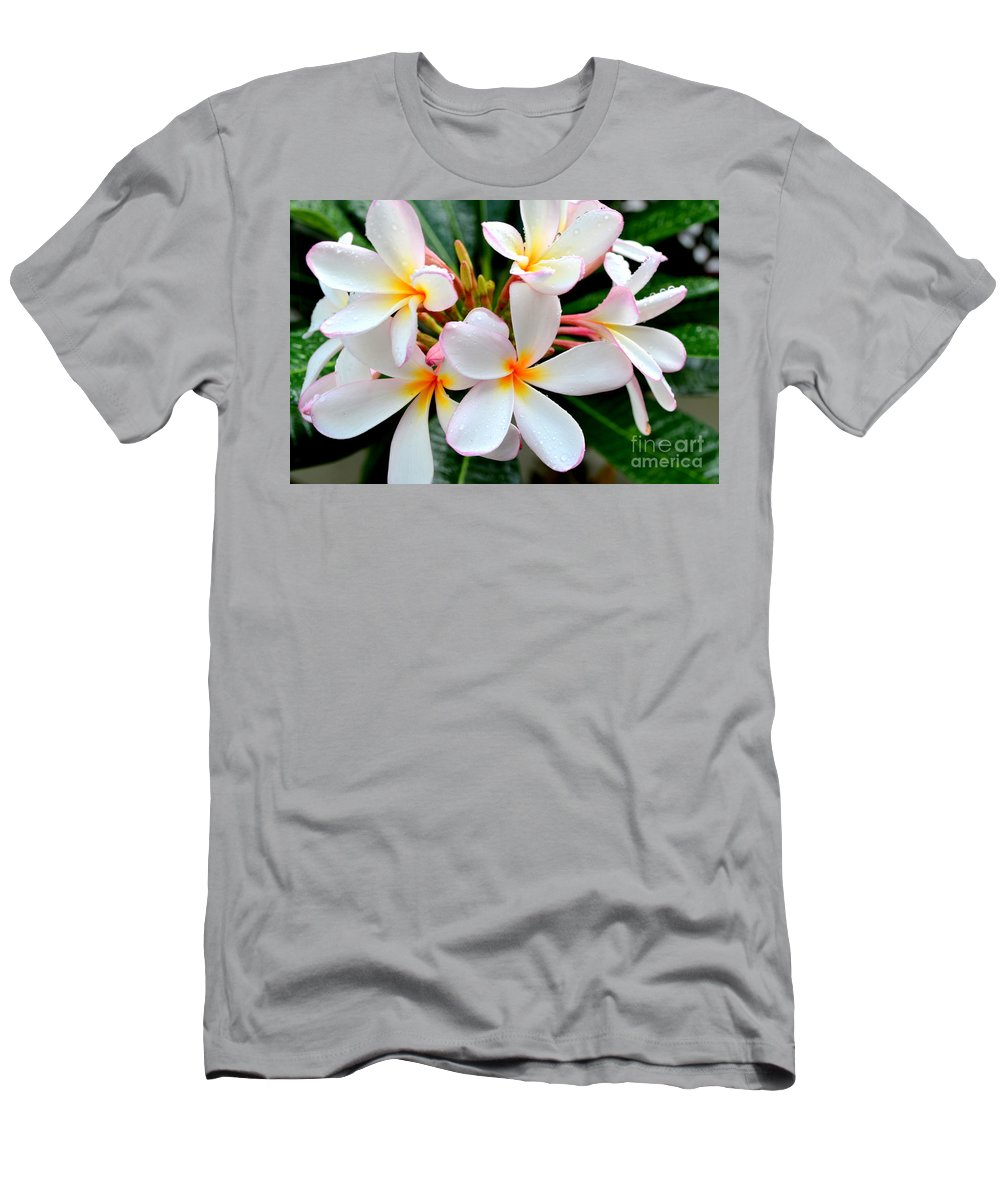 Plumeria Men's T-Shirt (Athletic Fit) featuring the photograph White Plumeria - 2 by Mary Deal