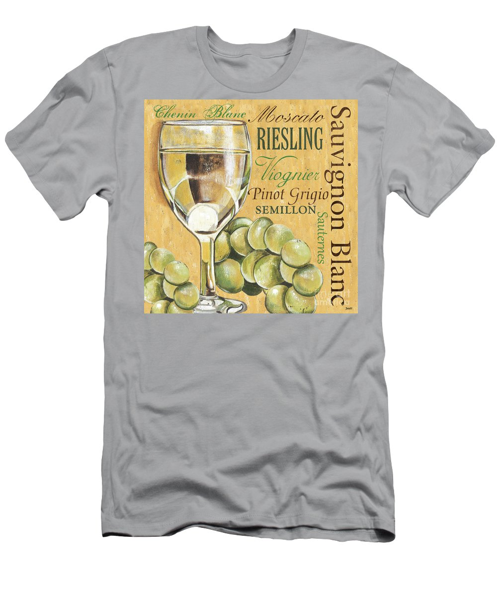 Wine T-Shirt featuring the painting White Wine Text by Debbie DeWitt