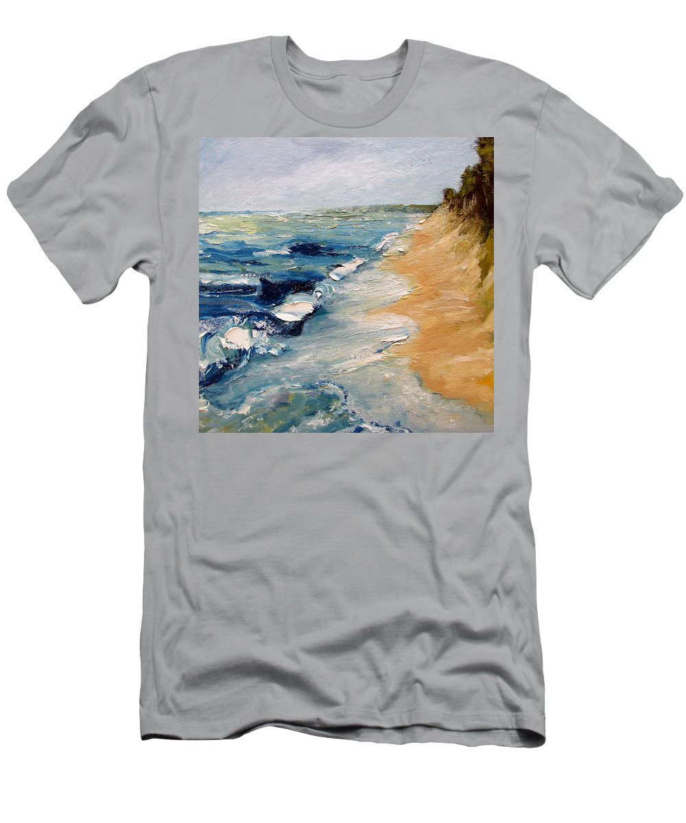 Whitecaps Men's T-Shirt (Athletic Fit) featuring the painting Whitecaps On Lake Michigan 3.0 by Michelle Calkins