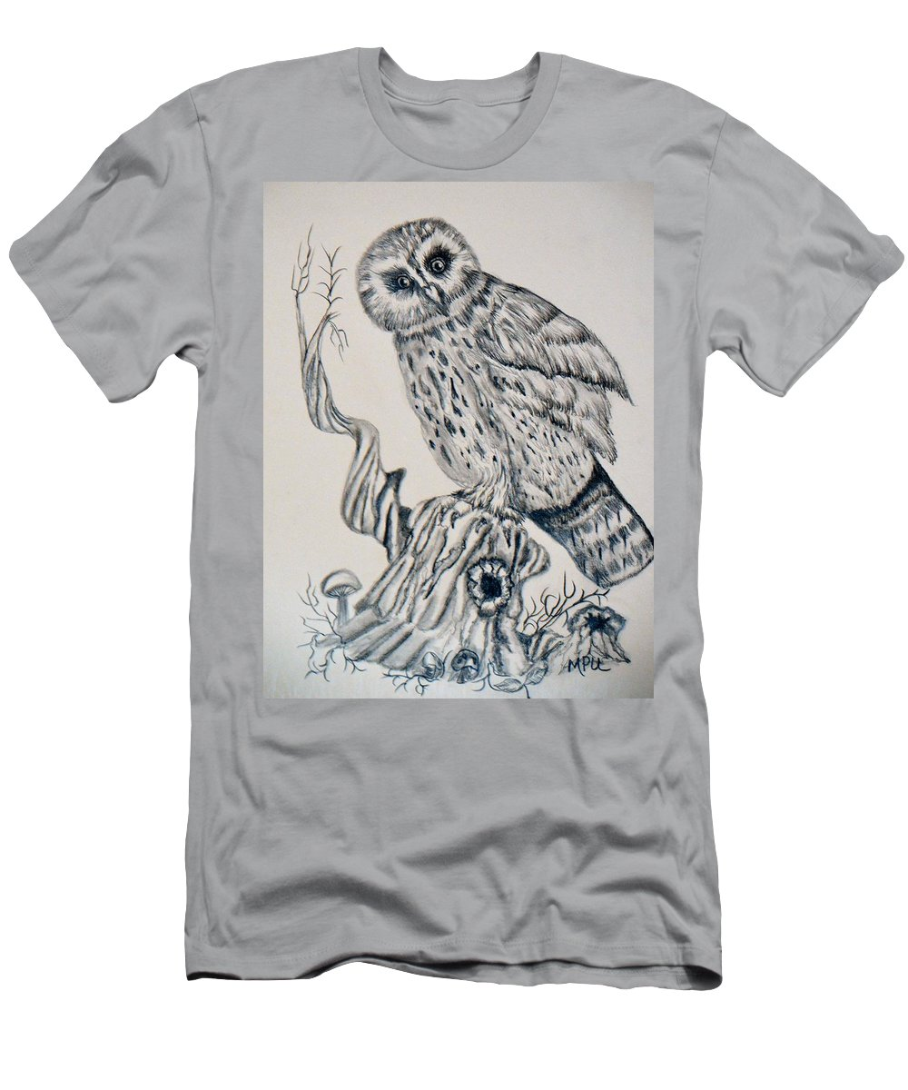 Whooo Are You Men's T-Shirt (Athletic Fit) featuring the drawing Whooo Are You by Maria Urso