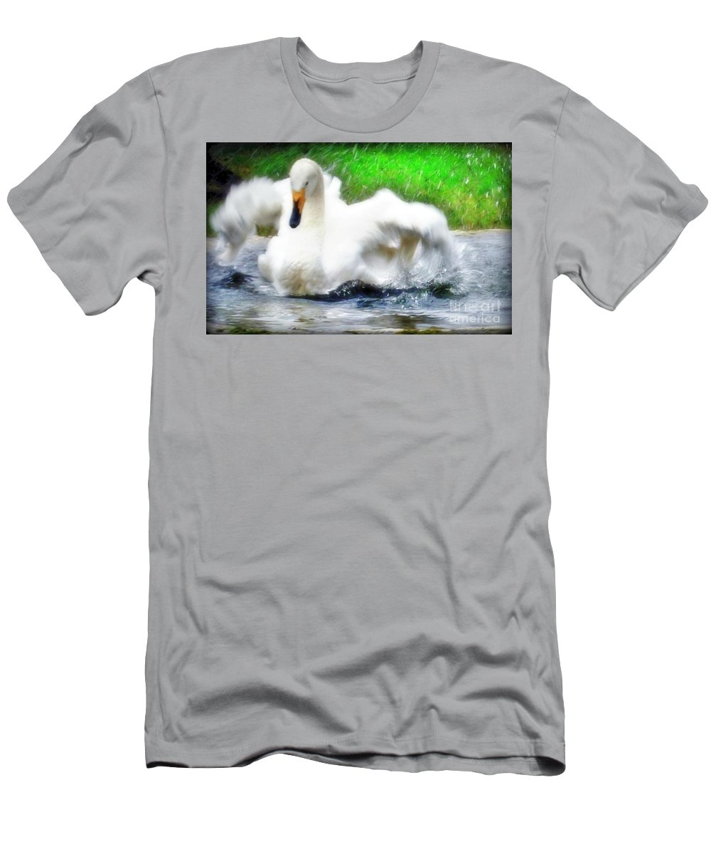 Water Fowl Men's T-Shirt (Athletic Fit) featuring the photograph Whooper Swan Flutter by Susan Garren