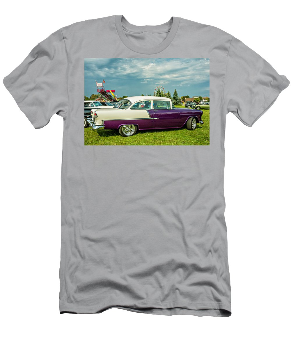 Automotive Men's T-Shirt (Athletic Fit) featuring the photograph Wicked 1955 Chevy Profile by Steve Harrington