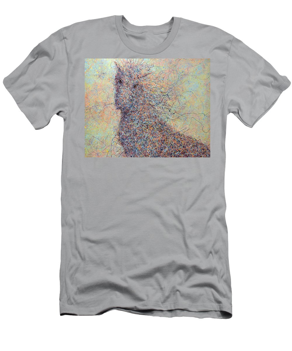 Wild Horse Men's T-Shirt (Athletic Fit) featuring the painting Wild Horse by James W Johnson