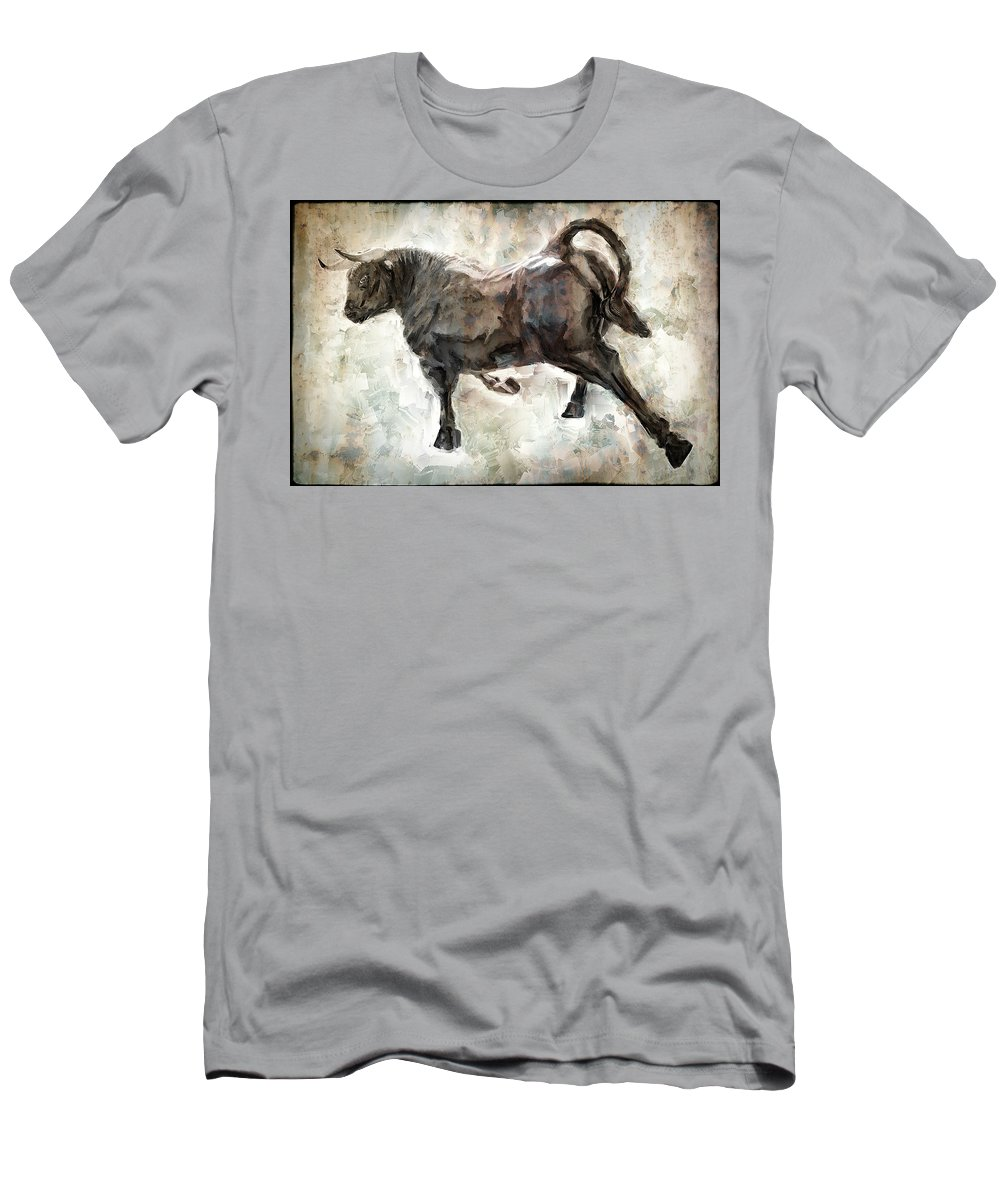 Bull Men's T-Shirt (Athletic Fit) featuring the digital art Wild Raging Bull by Daniel Hagerman