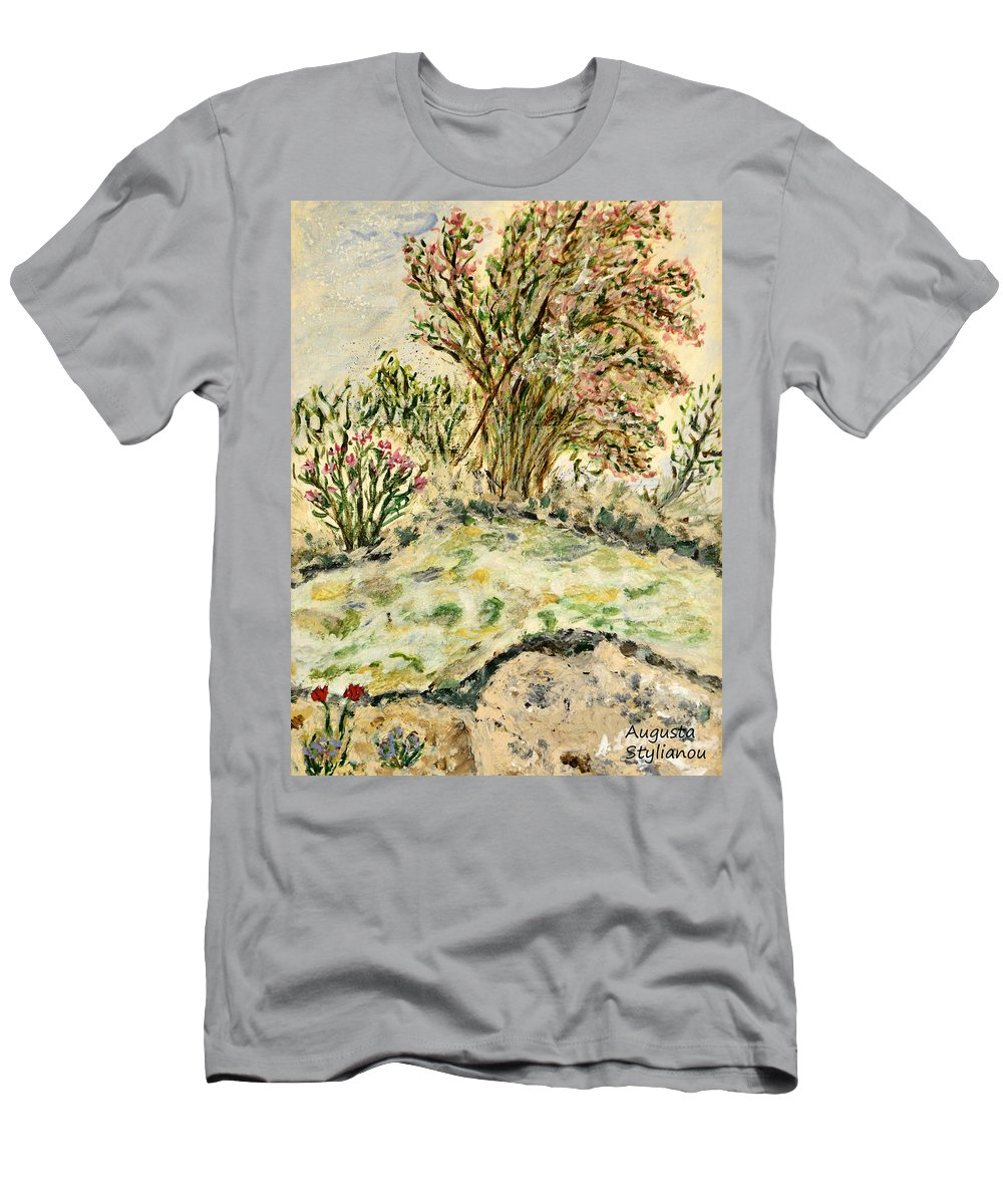 Rhododendron Men's T-Shirt (Athletic Fit) featuring the painting Wild Rhododendrons Near The River by Augusta Stylianou