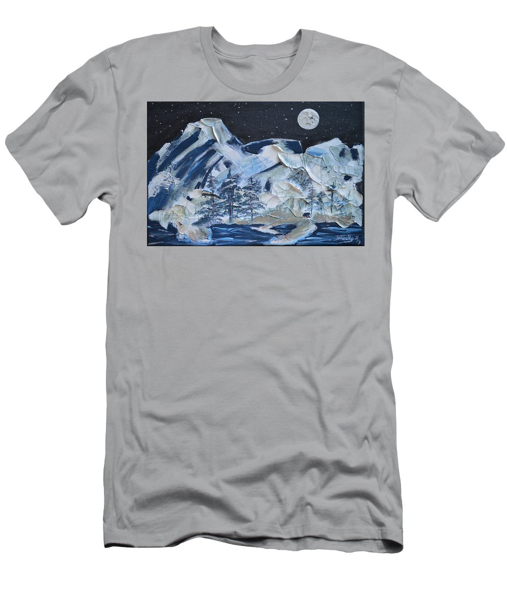 Mountain Men's T-Shirt (Athletic Fit) featuring the painting Wilderness Sky by Donna Blackhall