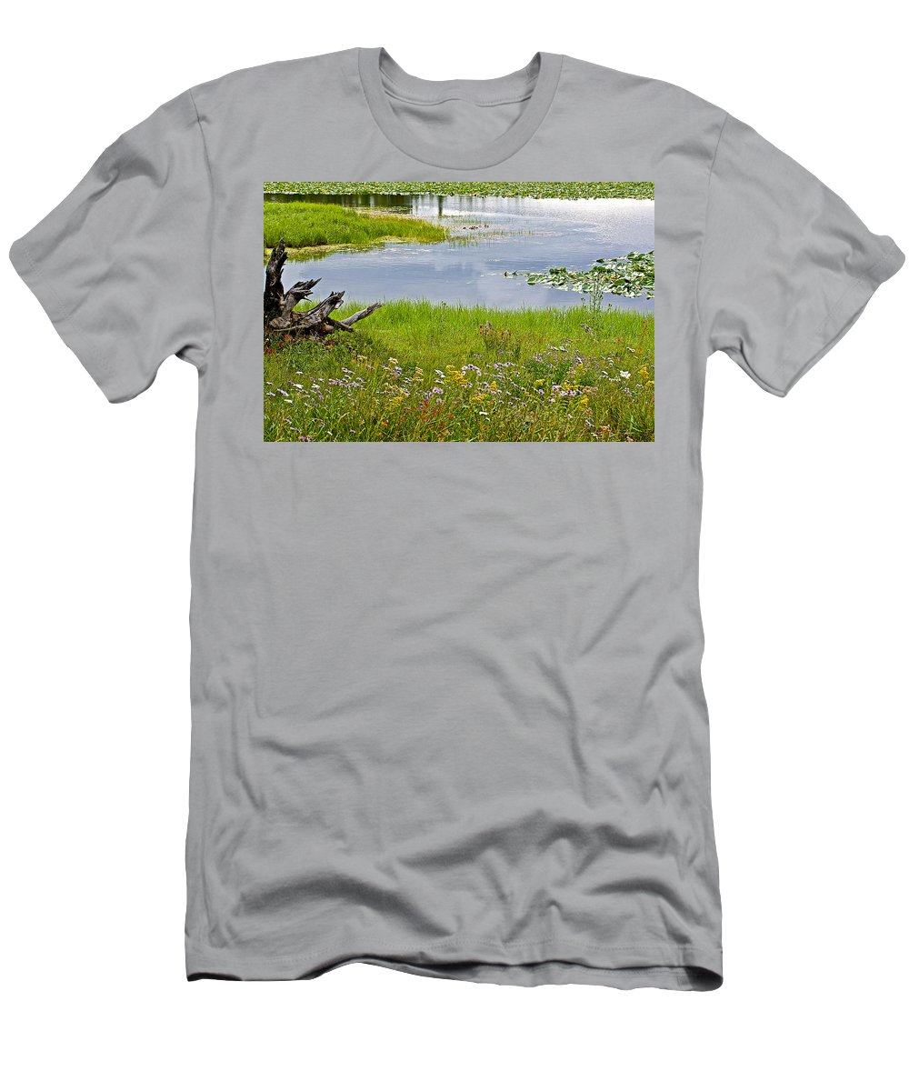 Wildflowers By Heron Pond In Grand Teton National Park Men's T-Shirt (Athletic Fit) featuring the photograph Wildflowers By Heron Pond In Grand Teton National Park-wyoming by Ruth Hager