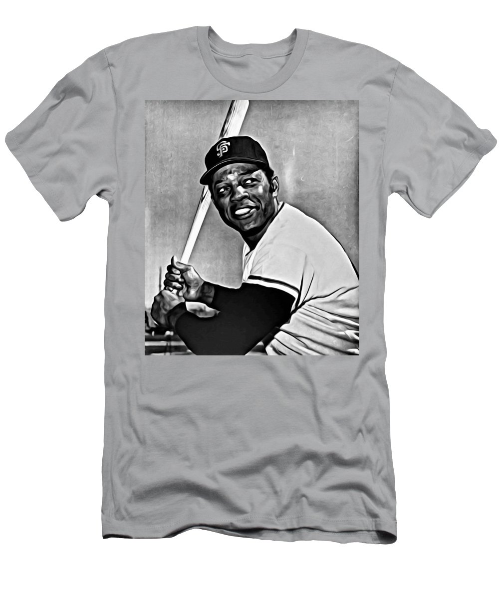 Mlb Men's T-Shirt (Athletic Fit) featuring the painting Willie Mays Painting by Florian Rodarte