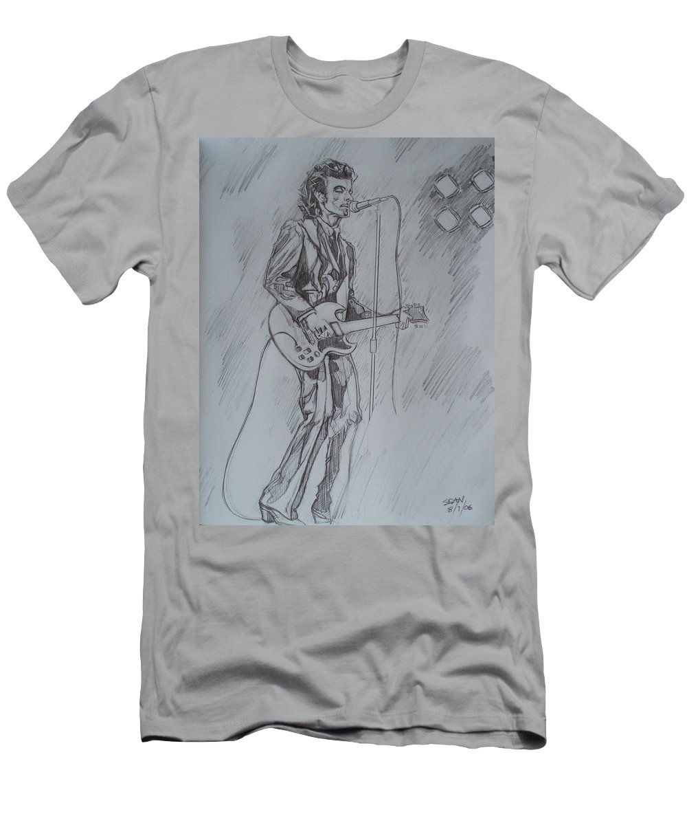 Pencil Men's T-Shirt (Athletic Fit) featuring the drawing Willy Deville - Steady Drivin' Man by Sean Connolly