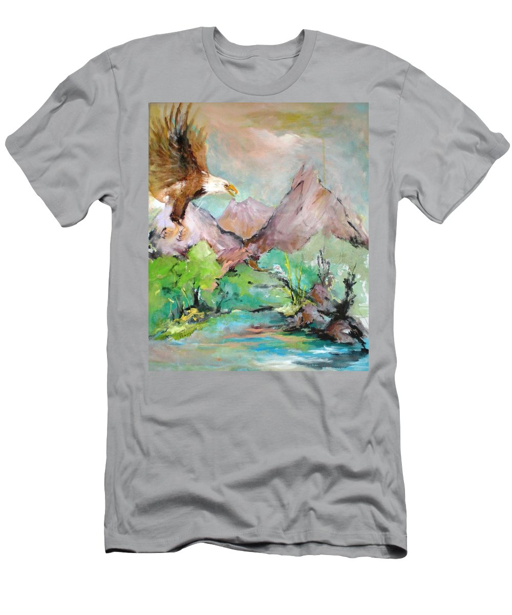 Eagle Men's T-Shirt (Athletic Fit) featuring the painting Wind Beneath My Wings by Mary Spyridon Thompson