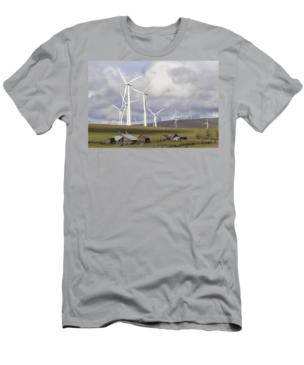 Wind Men's T-Shirt (Athletic Fit) featuring the photograph Wind Farm By Cattle Ranch In Washington State by Jit Lim