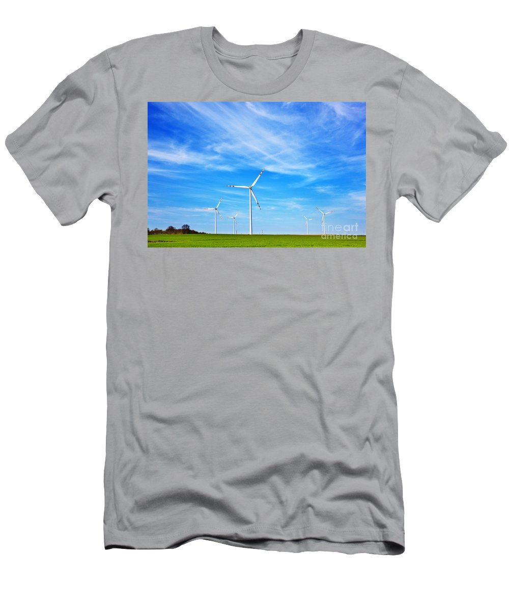 Power Men's T-Shirt (Athletic Fit) featuring the photograph Wind Turbines Farm by Michal Bednarek