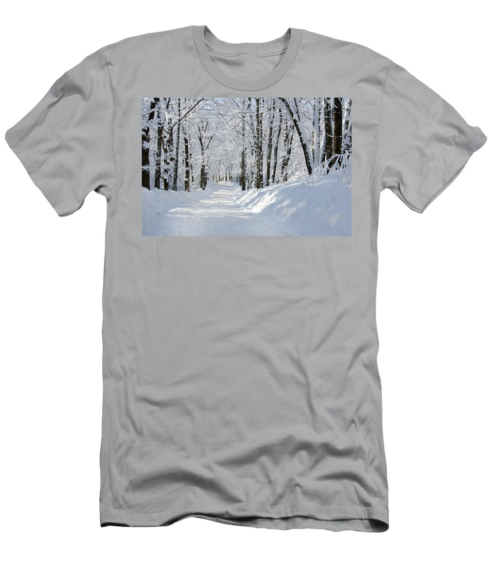 Winter Men's T-Shirt (Athletic Fit) featuring the photograph Winding Snowy Road In Winter by Donna Doherty