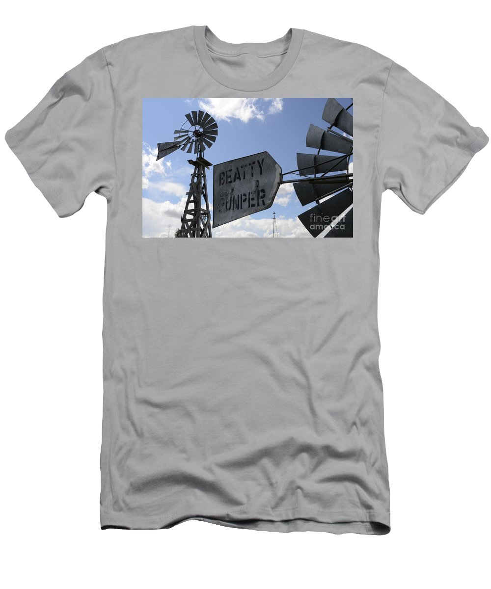 Windmill Men's T-Shirt (Athletic Fit) featuring the photograph Windmills 1 by Bob Christopher