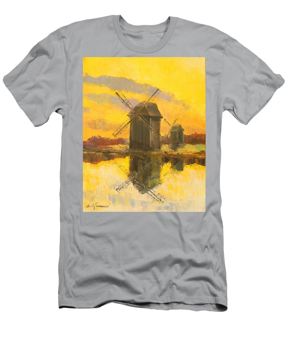 Windmill Men's T-Shirt (Athletic Fit) featuring the painting Windmills by Luke Karcz