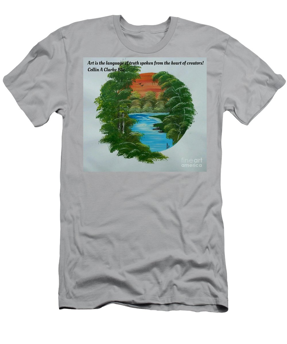 Paintings Men's T-Shirt (Athletic Fit) featuring the painting Window Of Peace Quotes by Collin A Clarke