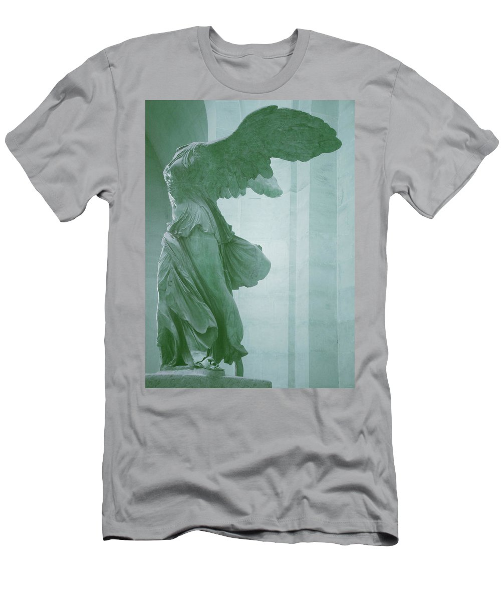Winged Victory Men's T-Shirt (Athletic Fit) featuring the photograph Winged Victory Of Samothrace Statue At The Louvre Museum    by The Art With A Heart By Charlotte Phillips