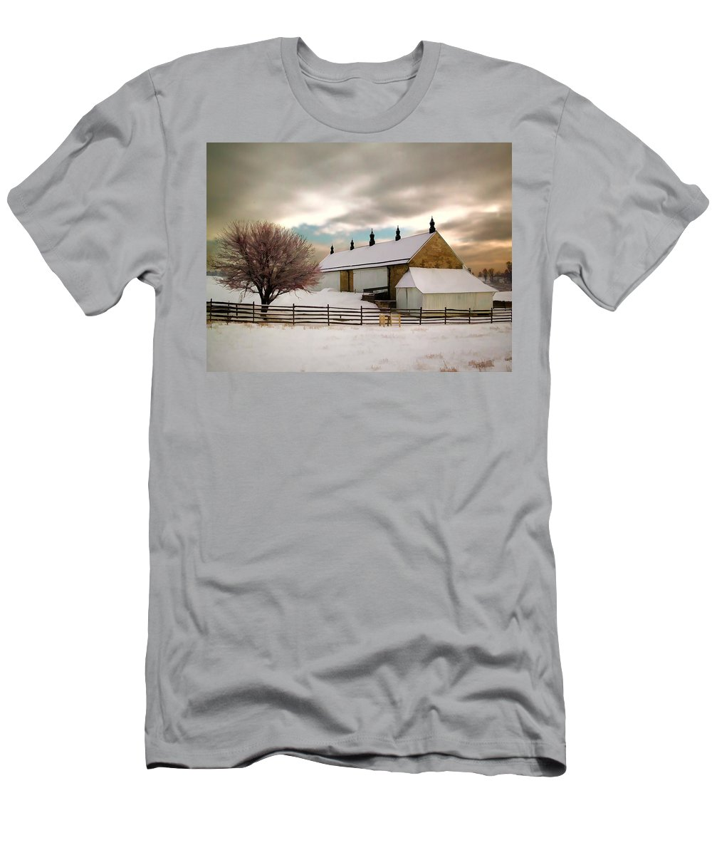 Barn Antietam Maryland National+battleground Civil+war Winter Snow Bare+tree Fence Men's T-Shirt (Athletic Fit) featuring the painting Winter At Piper Barn Anteitam National Battleground by Elaine Plesser