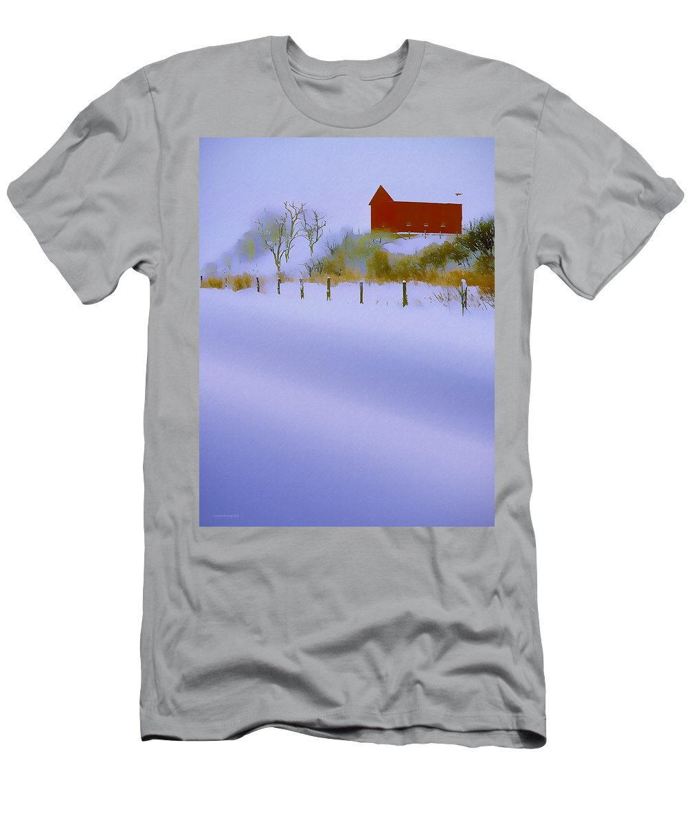 Ron Jones Men's T-Shirt (Athletic Fit) featuring the photograph Winter Barn by Ron Jones