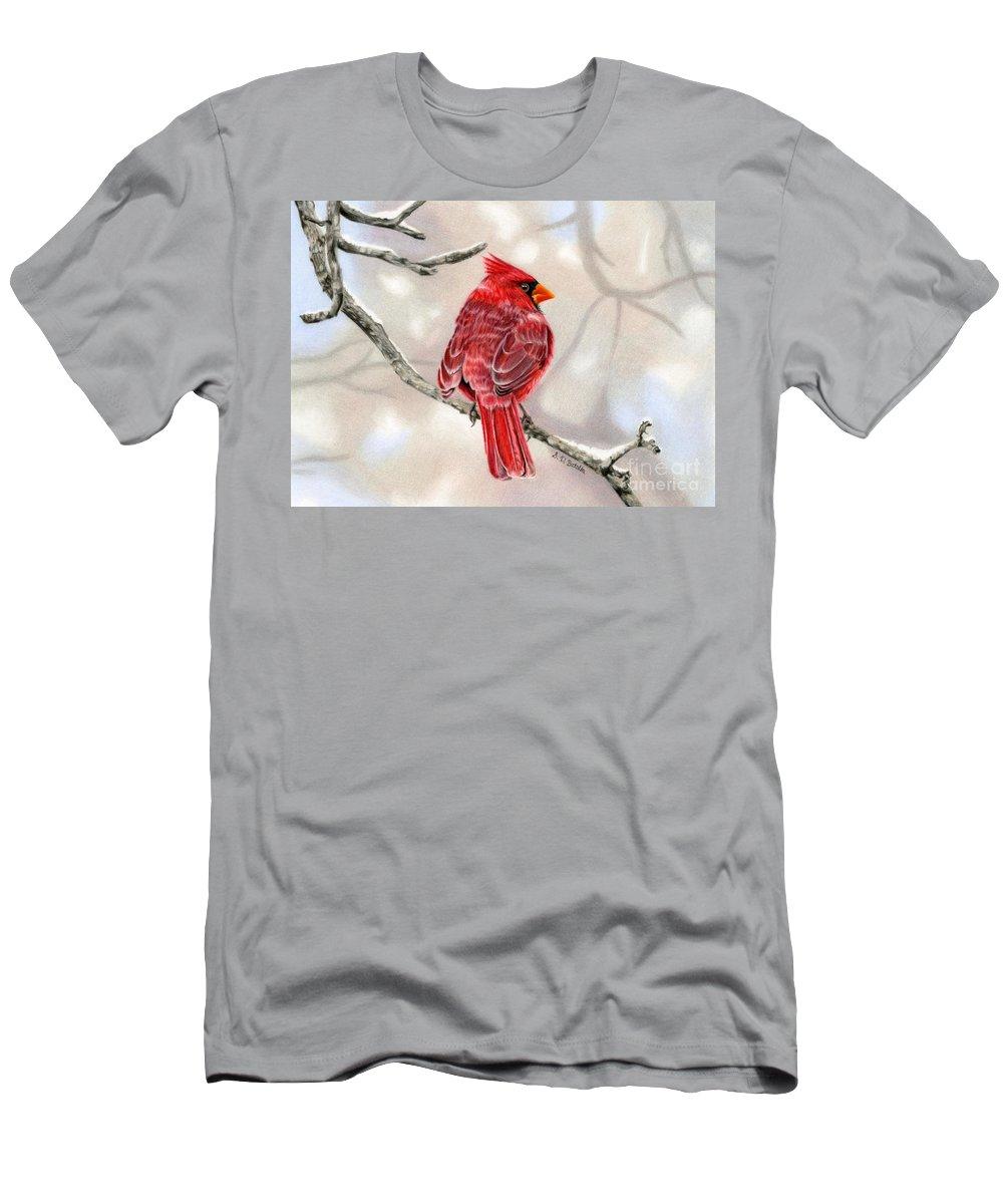Cardinal T-Shirt featuring the painting Winter Cardinal by Sarah Batalka