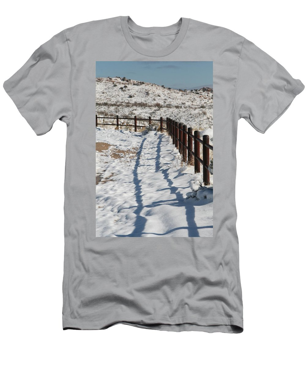 David S Reynolds Men's T-Shirt (Athletic Fit) featuring the photograph Winter Fence by David S Reynolds