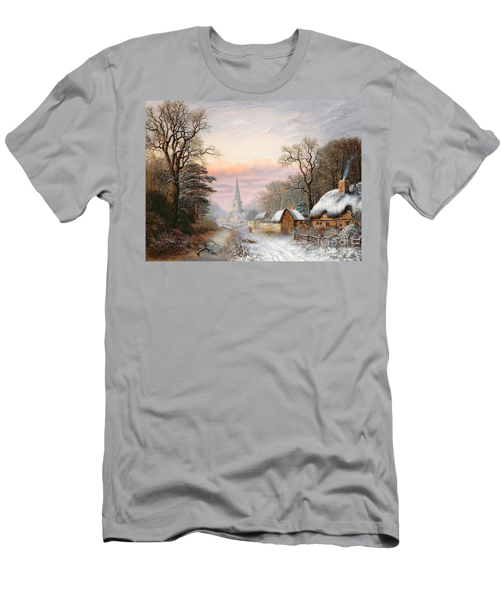 Rural Men's T-Shirt (Athletic Fit) featuring the painting Winter Landscape by Charles Leaver