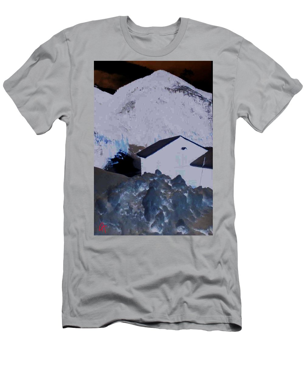 Colette Men's T-Shirt (Athletic Fit) featuring the painting Winter Life Austrian Mountain by Colette V Hera Guggenheim