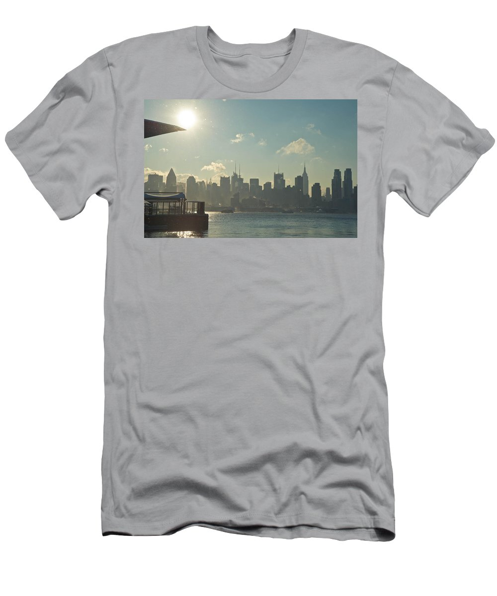Architecture Men's T-Shirt (Athletic Fit) featuring the photograph Winter Morning On The Hudson by Zina Zinchik