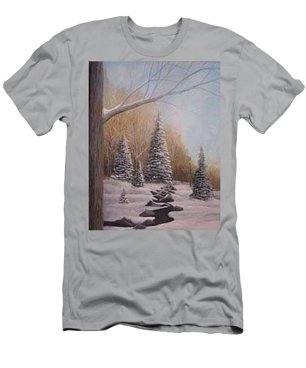 Rick Huotari Men's T-Shirt (Athletic Fit) featuring the painting Winter Morning by Rick Huotari