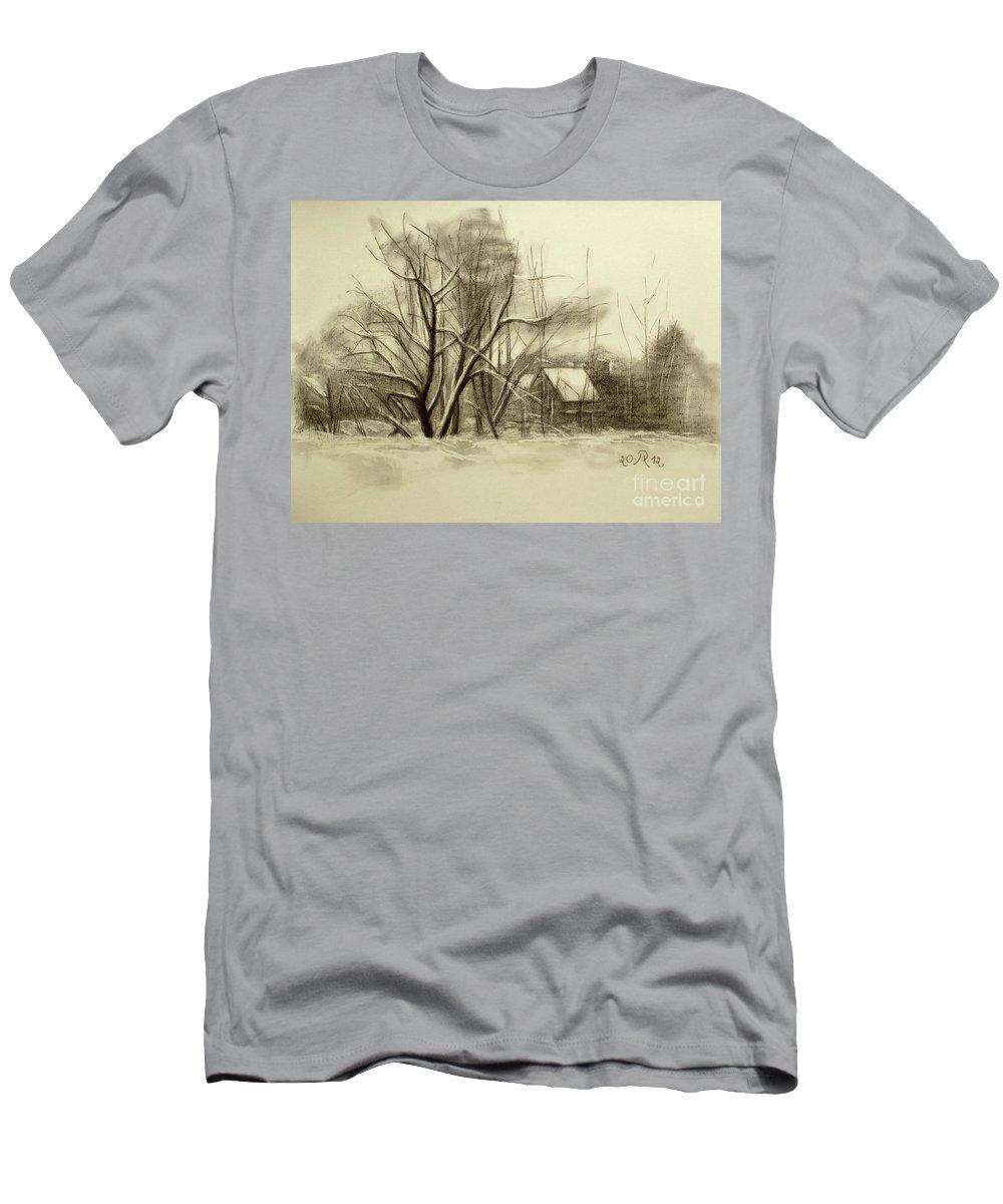 Landscape T-Shirt featuring the drawing Winter by Raimonda Jatkeviciute-Kasparaviciene