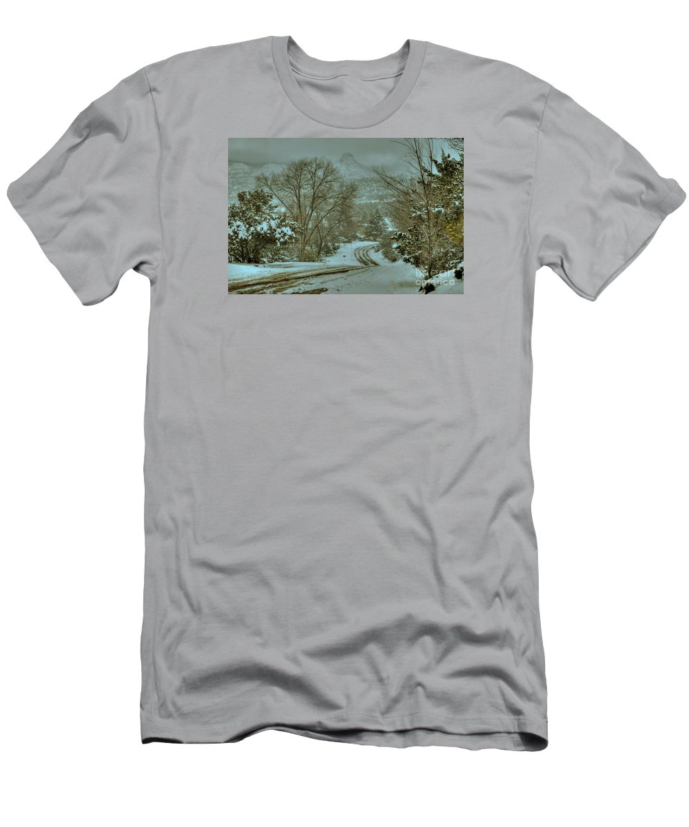 Diana Graves Photography Men's T-Shirt (Athletic Fit) featuring the photograph Winter Road by K D Graves