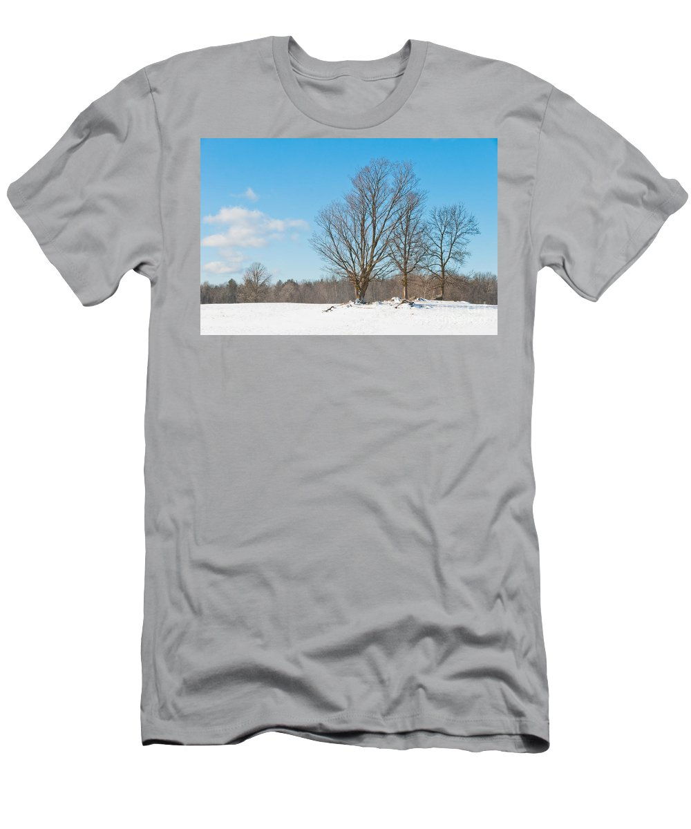 Landscapes Men's T-Shirt (Athletic Fit) featuring the photograph Winter Trees by Cheryl Baxter