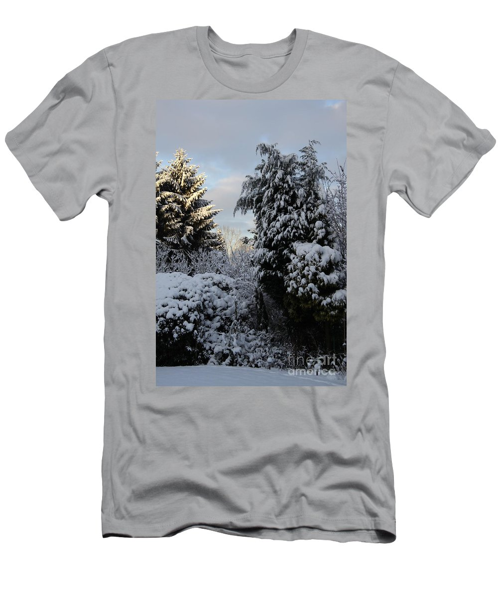 Trees Men's T-Shirt (Athletic Fit) featuring the photograph Winter Trees by Christiane Schulze Art And Photography