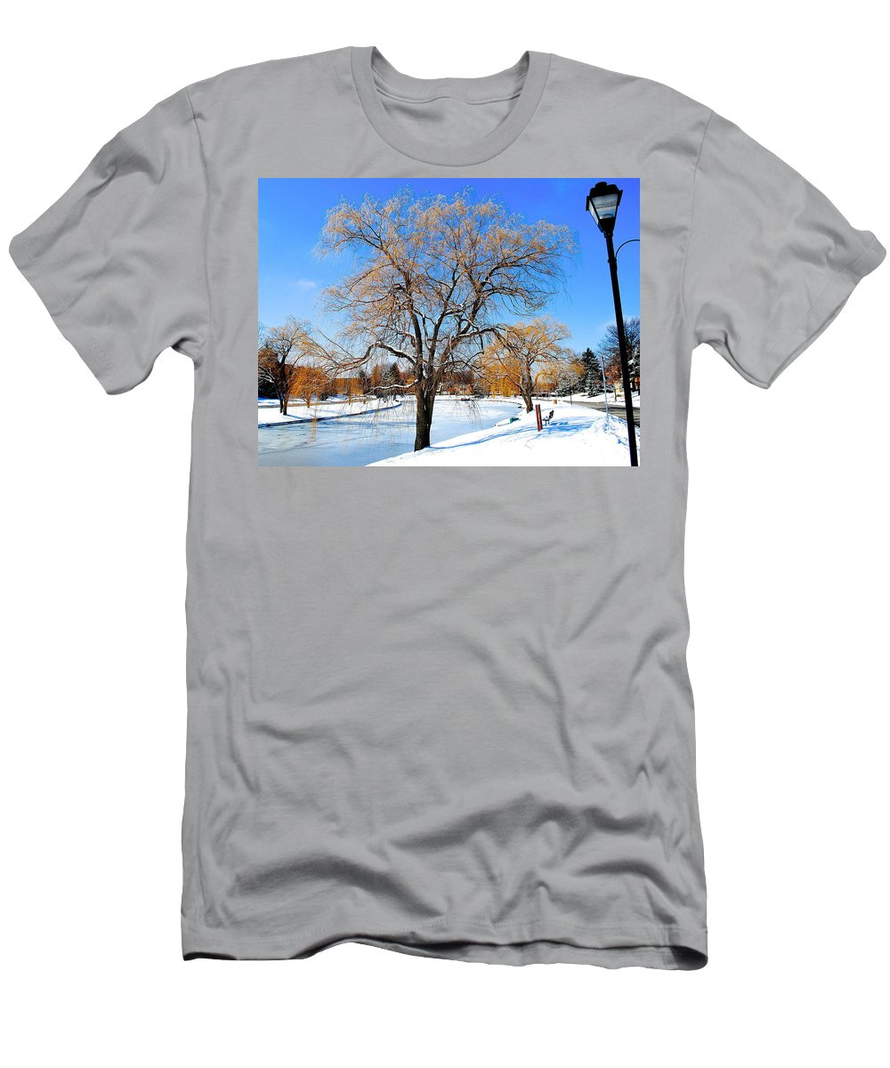 Willow Men's T-Shirt (Athletic Fit) featuring the photograph Winter Willow by Frozen in Time Fine Art Photography