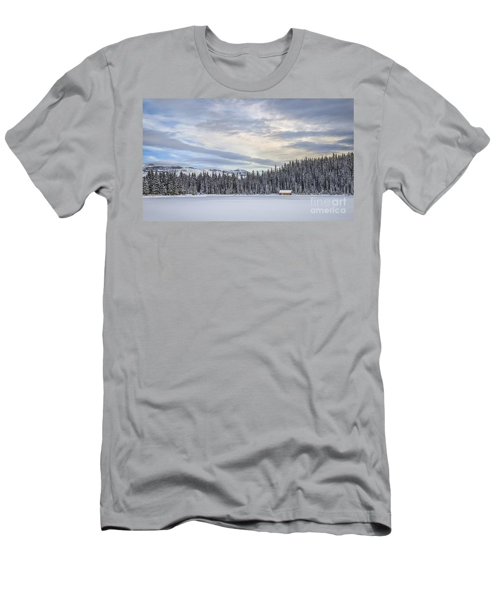 Lake Louise Men's T-Shirt (Athletic Fit) featuring the photograph Winter Wonderland by Evelina Kremsdorf