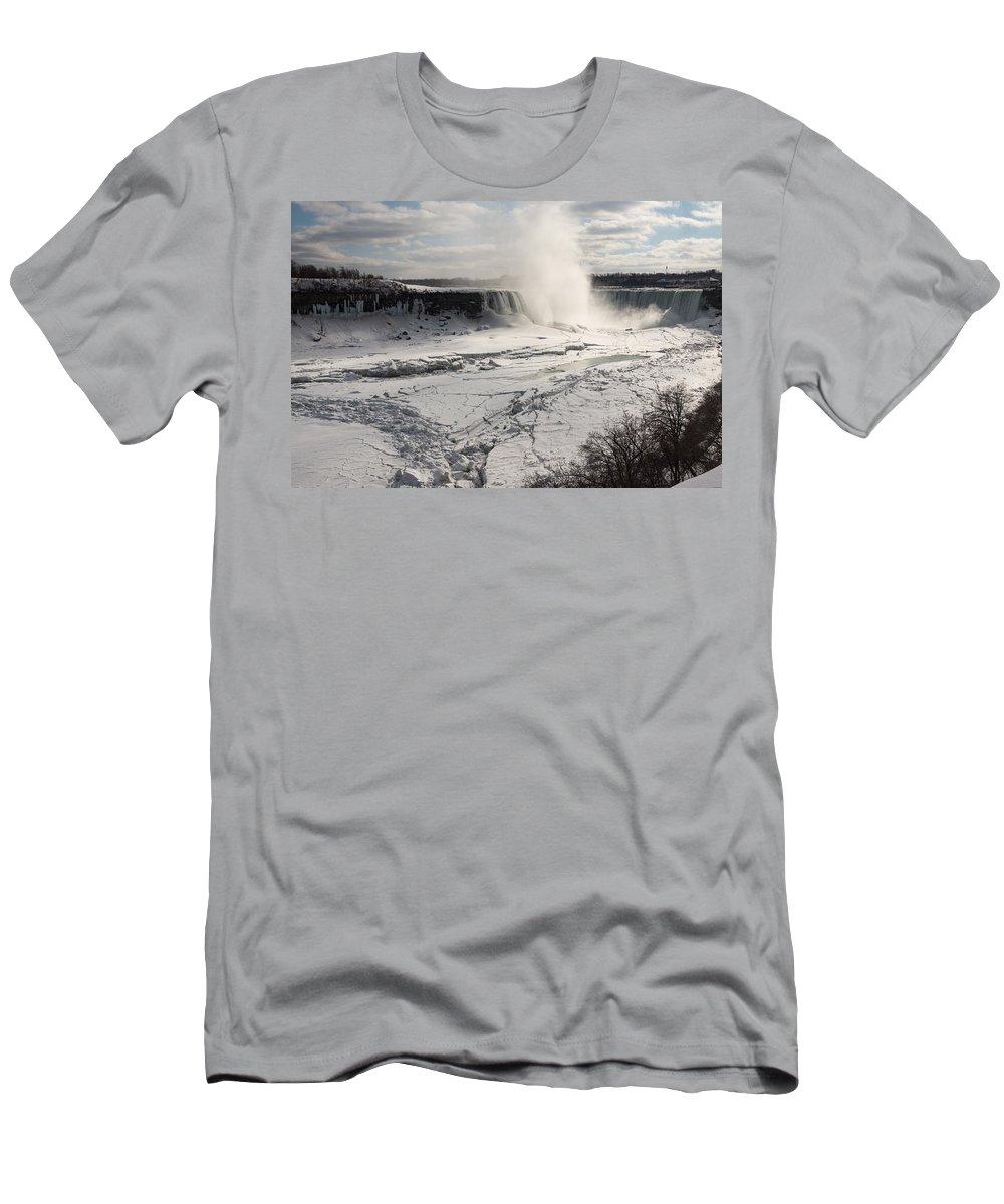 Winter Wonderland Men's T-Shirt (Athletic Fit) featuring the photograph Winter Wonderland - Spectacular Niagara Falls Ice Buildup by Georgia Mizuleva
