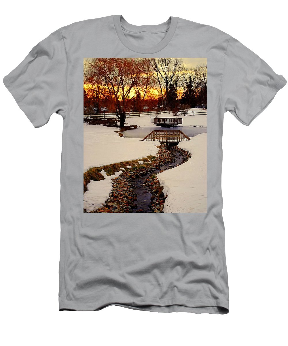 Winter Men's T-Shirt (Athletic Fit) featuring the photograph Winters Exit by Frozen in Time Fine Art Photography