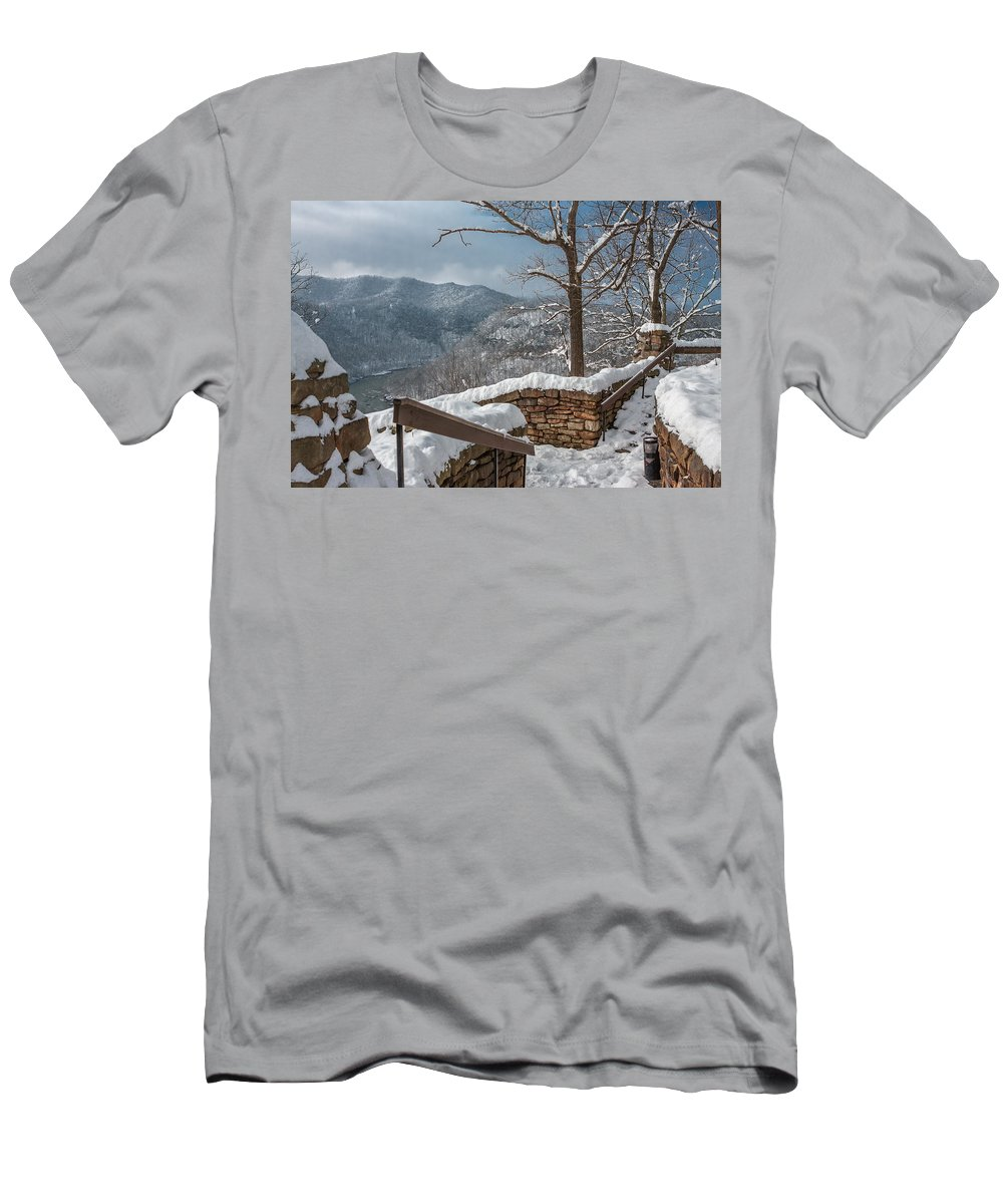 Hawks Nest State Park Men's T-Shirt (Athletic Fit) featuring the photograph Wintertime At Hawks Nest by Mary Almond