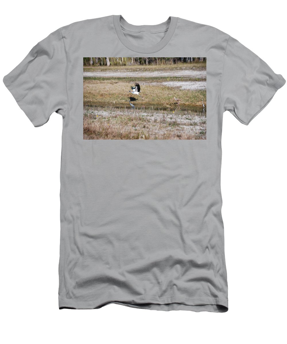 Taking Flight Men's T-Shirt (Athletic Fit) featuring the photograph Wood Stork And Herons by Robert Floyd