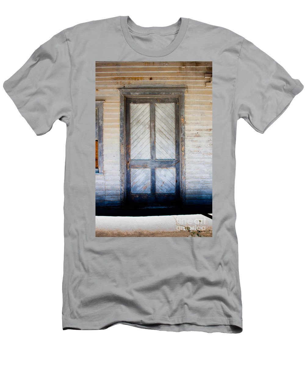 Door Men's T-Shirt (Athletic Fit) featuring the photograph Wooden Door In Sepia by Thomas Marchessault