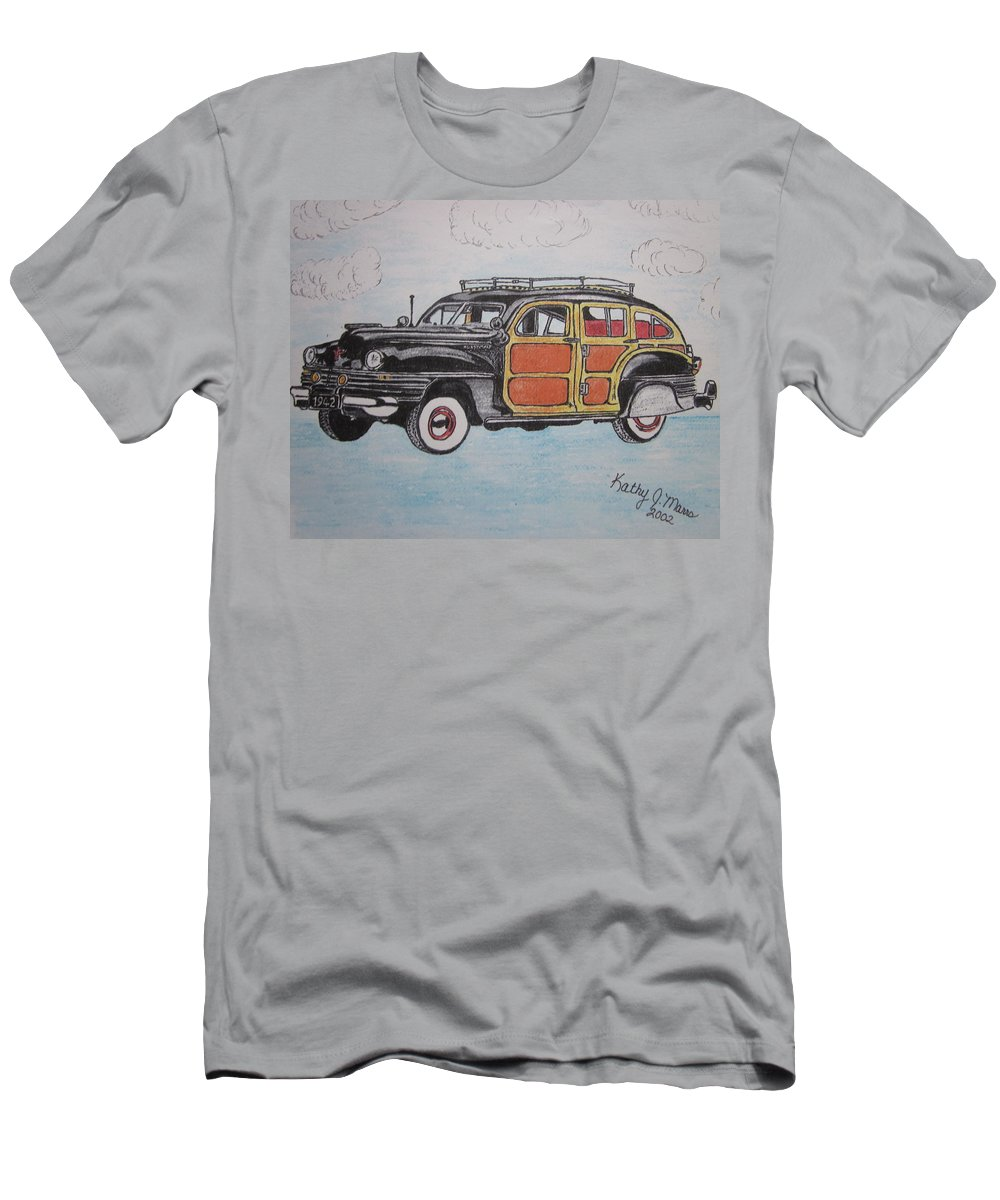 Woodie Men's T-Shirt (Athletic Fit) featuring the painting Woodie Station Wagon by Kathy Marrs Chandler