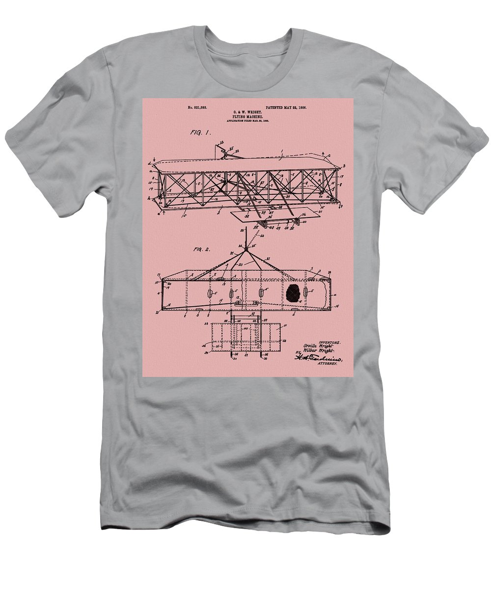 The Wright Brothers Airplane Patent Men's T-Shirt (Athletic Fit) featuring the mixed media Wright Brothers Patent Red by Dan Sproul