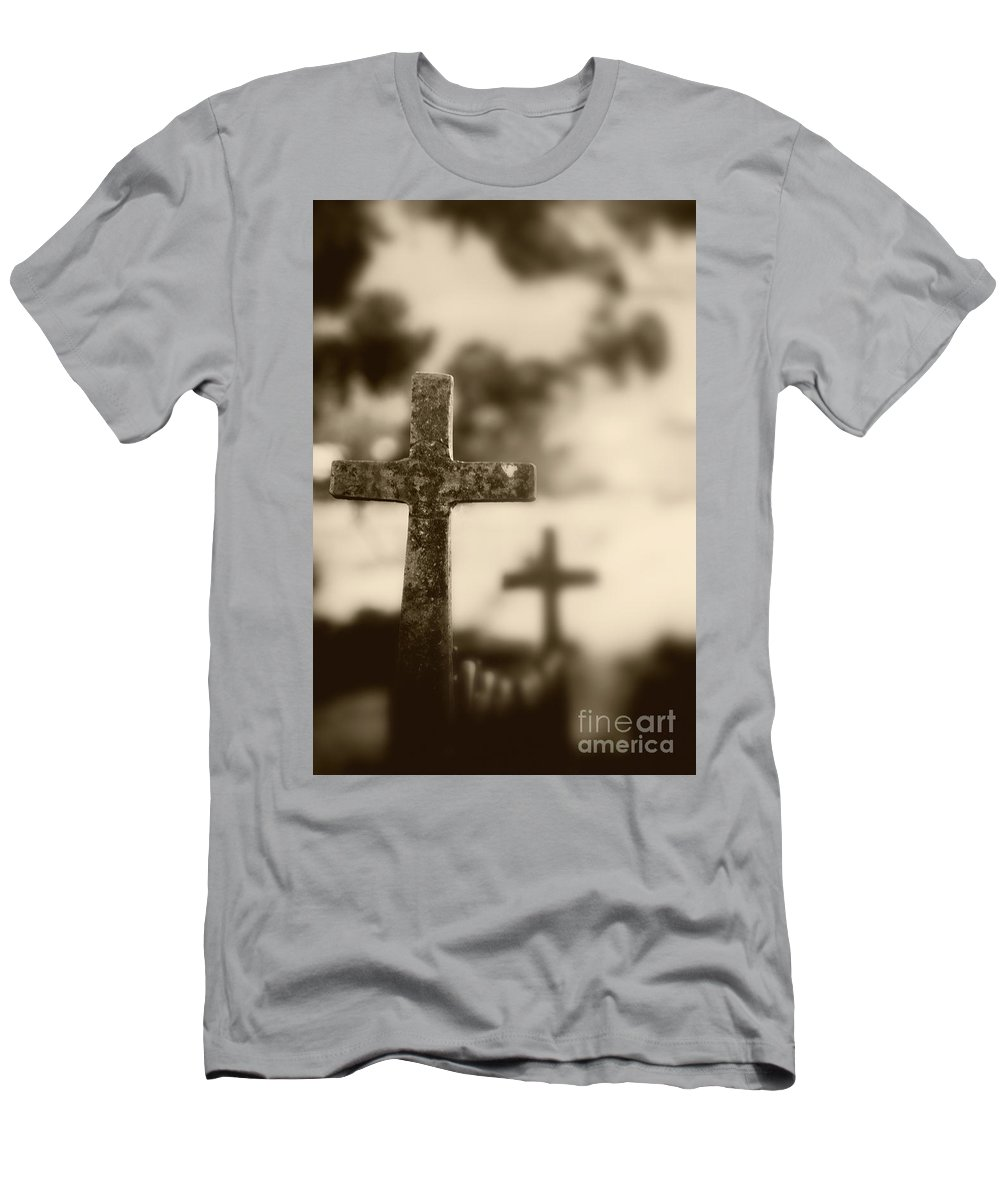 Wrought; Iron; Fence; Rust; Texture; Grunge; Dirt; Dirty; Sepia; Brown; Cross; Religion; Religious; Catholic; Christian; Symbol; Close Up; Leaves; Trees Men's T-Shirt (Athletic Fit) featuring the photograph Wrought by Margie Hurwich
