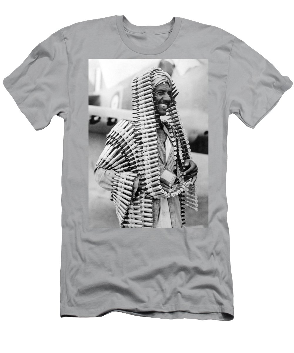 1 Person Men's T-Shirt (Athletic Fit) featuring the photograph Wwii Fighters In Africa by Underwood Archives